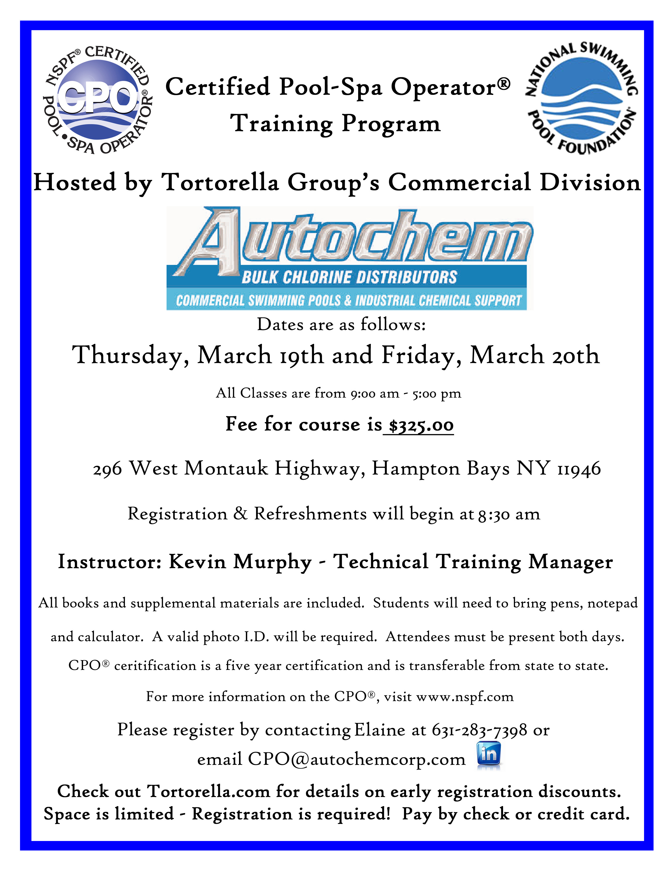 Certified Pool Spa Operator Training Program Being Held March 19th